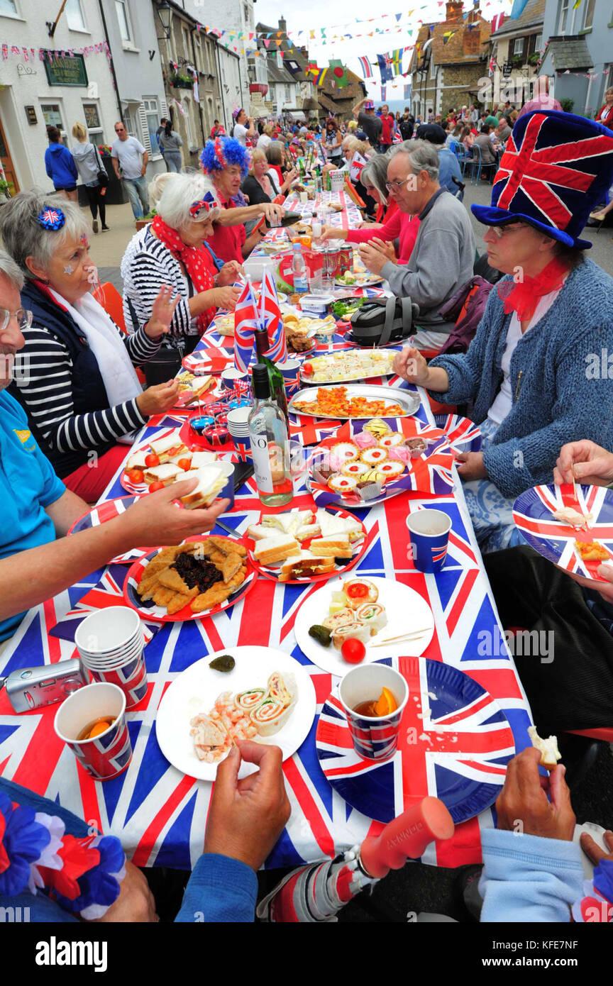 Jubilee street party, Beer, Devon. - Stock Image
