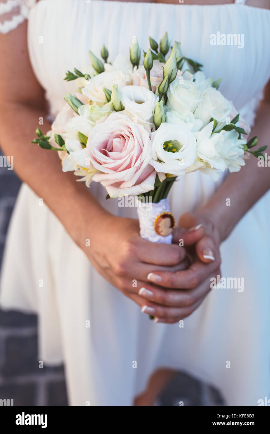 Wedding bouquet of eustoma , mills and pink roses - Stock Image