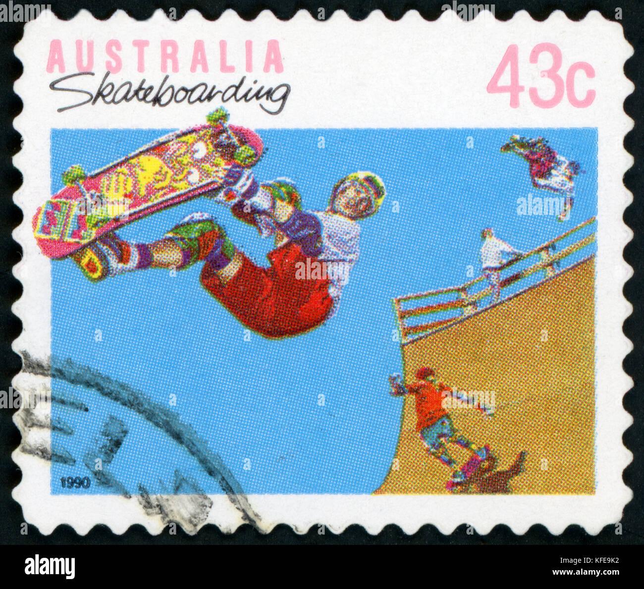Postage stamp ( Australia - Skatebording ) - Stock Image
