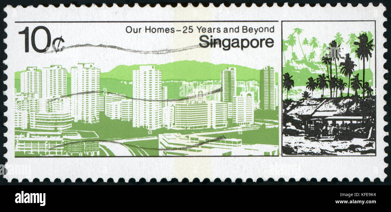 Postage Stamp - Singapore - Stock Image