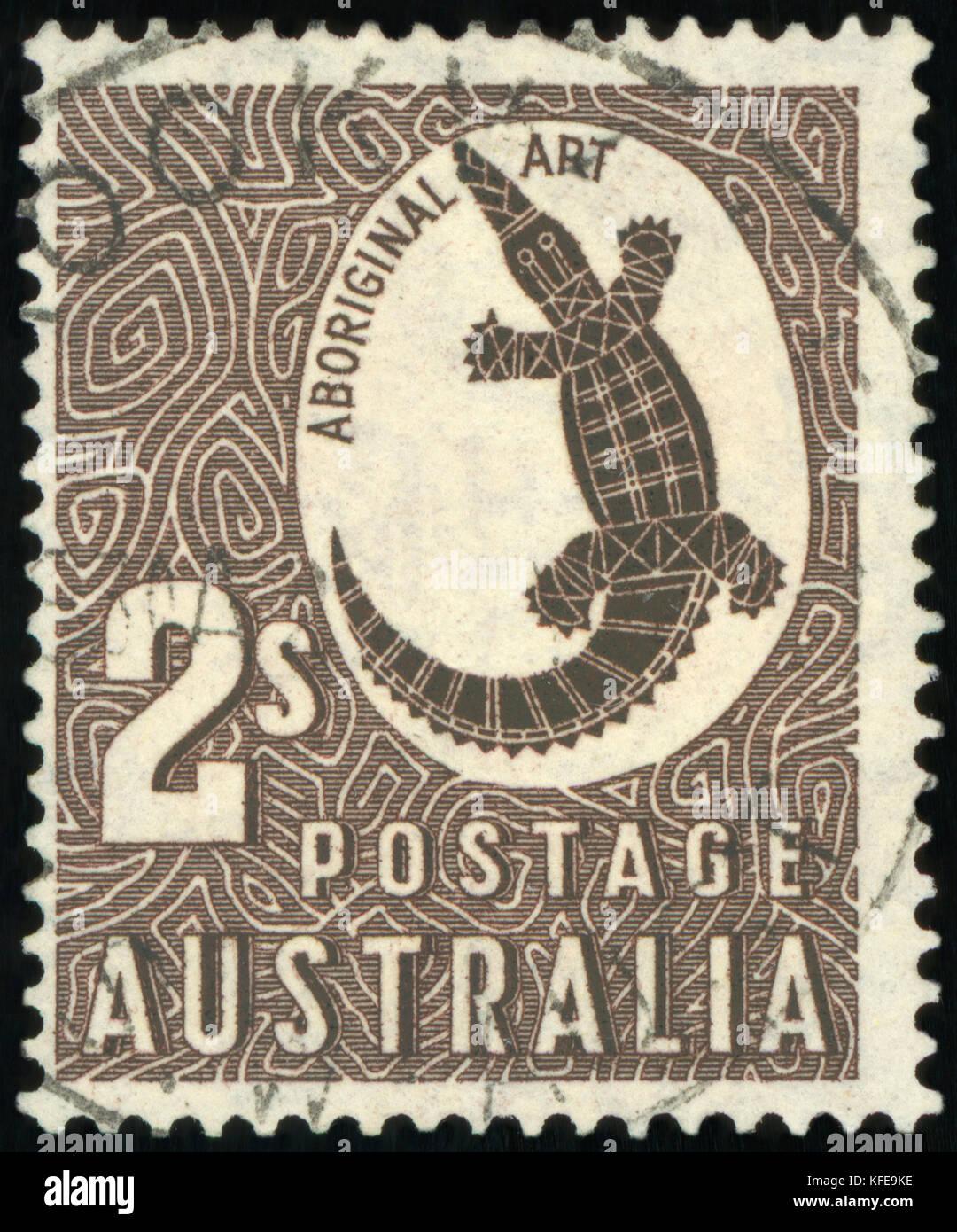Postage stamp (Australia - Aboriginal Art) - Stock Image