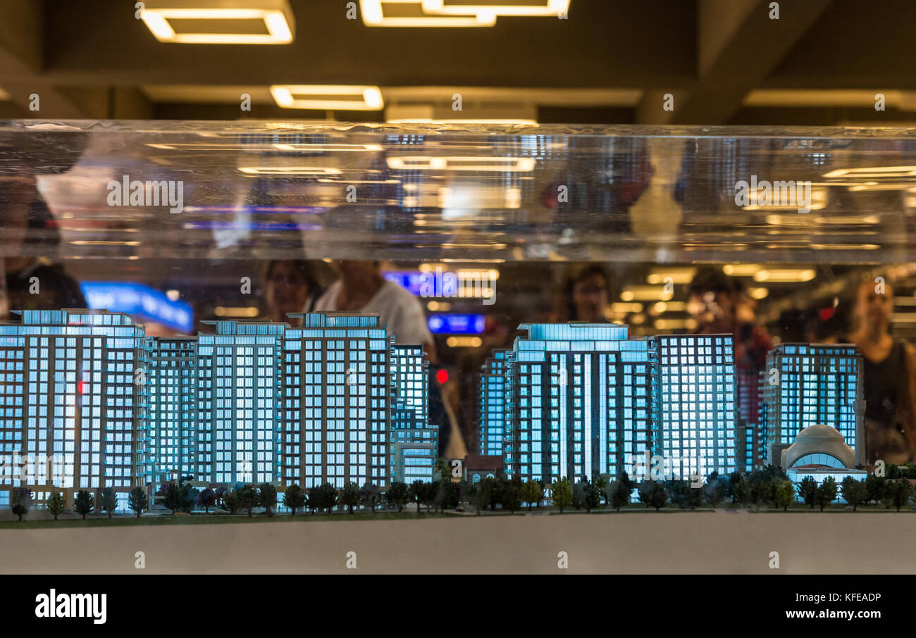 Models of high-rise apartments in display inside Istanbul Airport, Turkey. - Stock Image