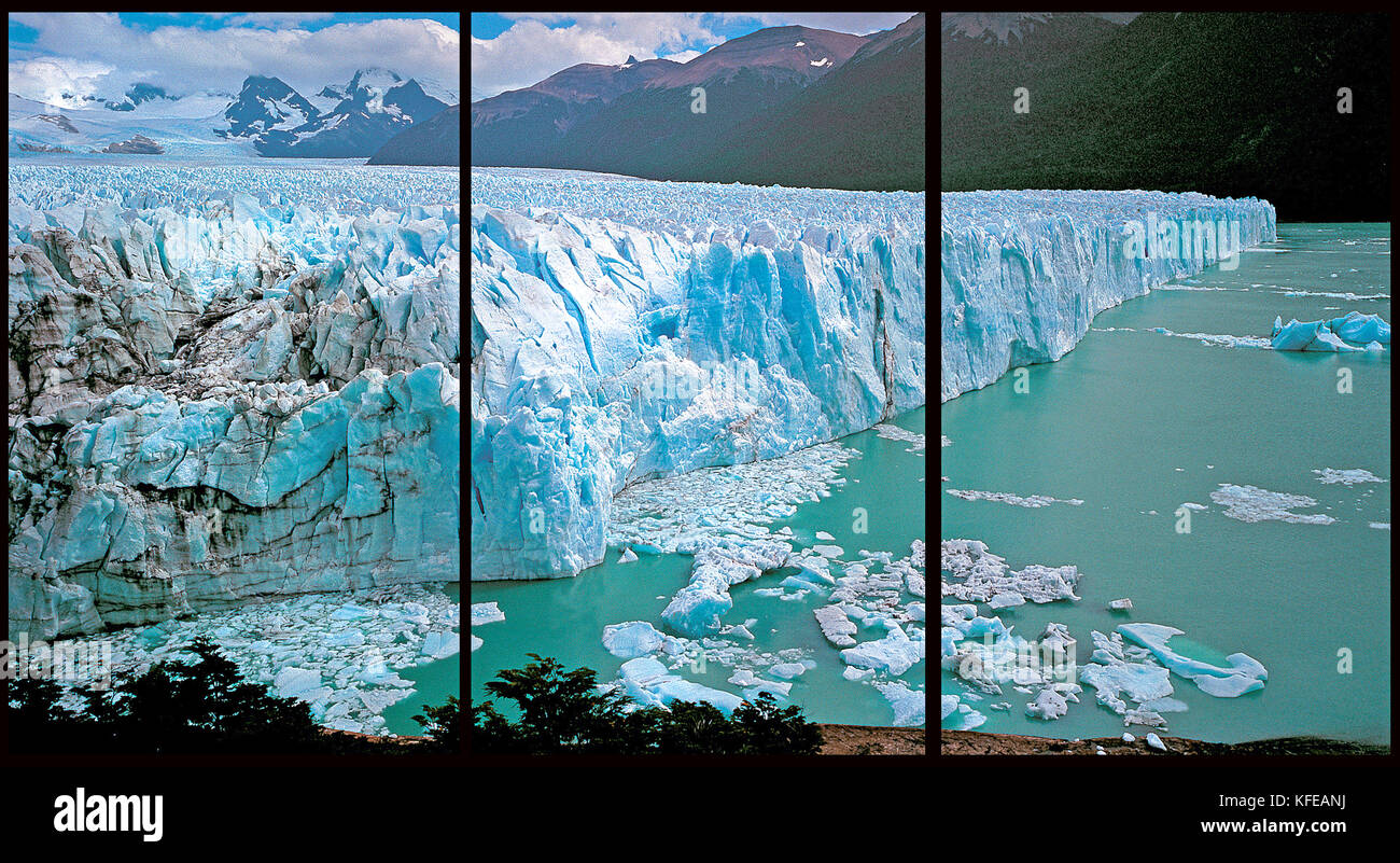 Argentina, Patagonia. Perito Moreno glacier (Triptych: picture molded into three fields for the printing of decorative - Stock Image