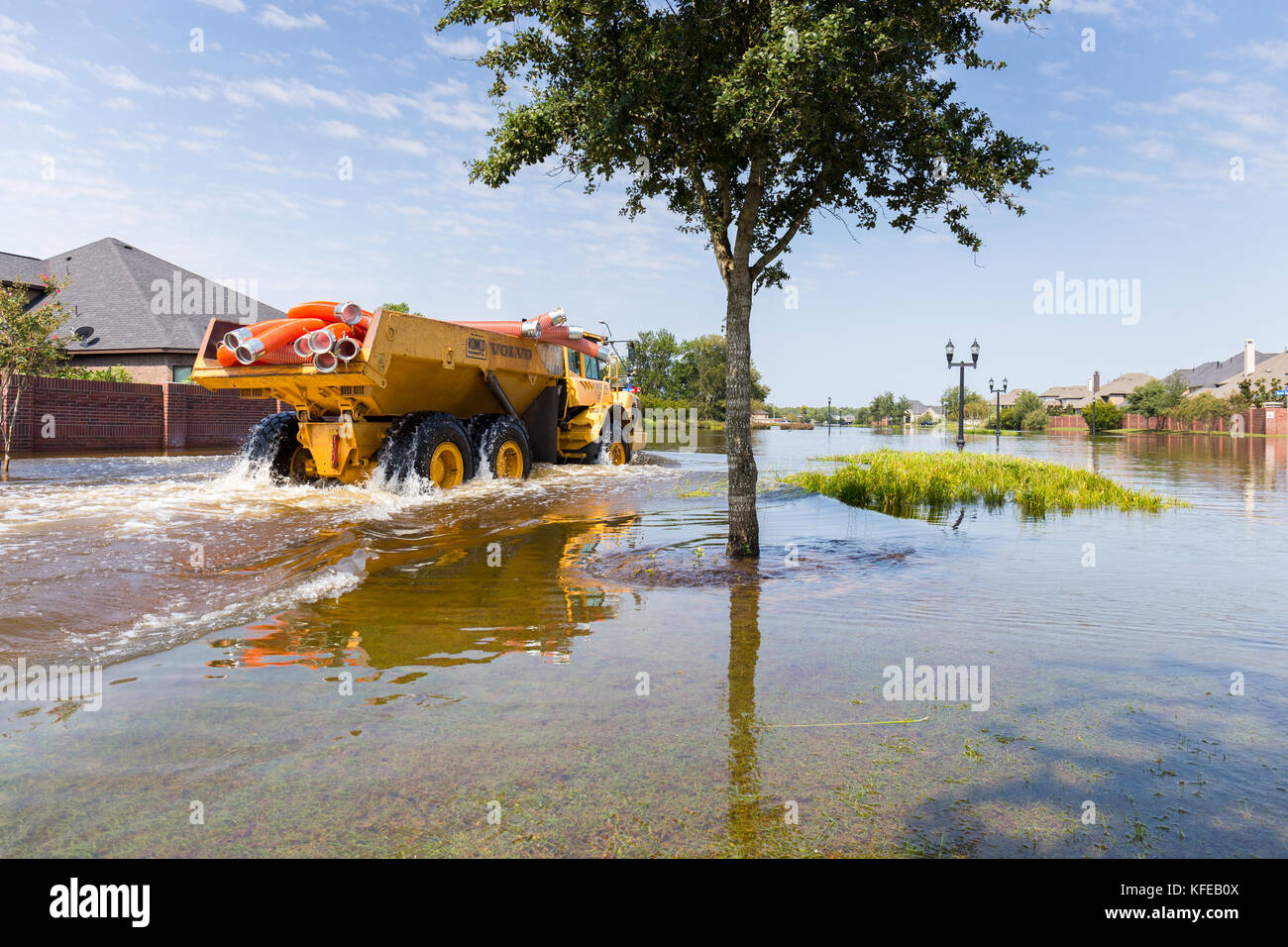 Mobile flood pumps are brought to the Riverstone neighborhood for disaster relief after hurricane Harvey - Stock Image