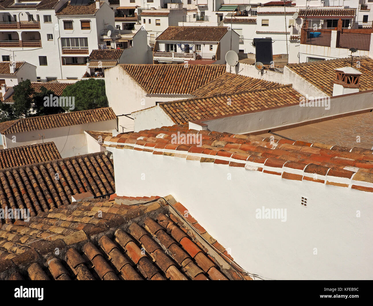 the picturesque white-painted houses in the historic hillside town of Mijas,Spain - Stock Image