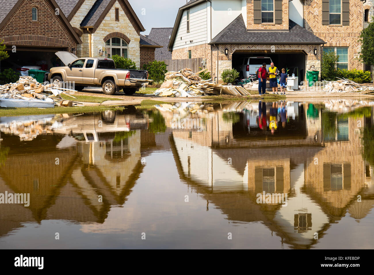 Houses in Houston suburb flooded from Hurricane Harvey 2017 Disaster relief efforts underway - Stock Image