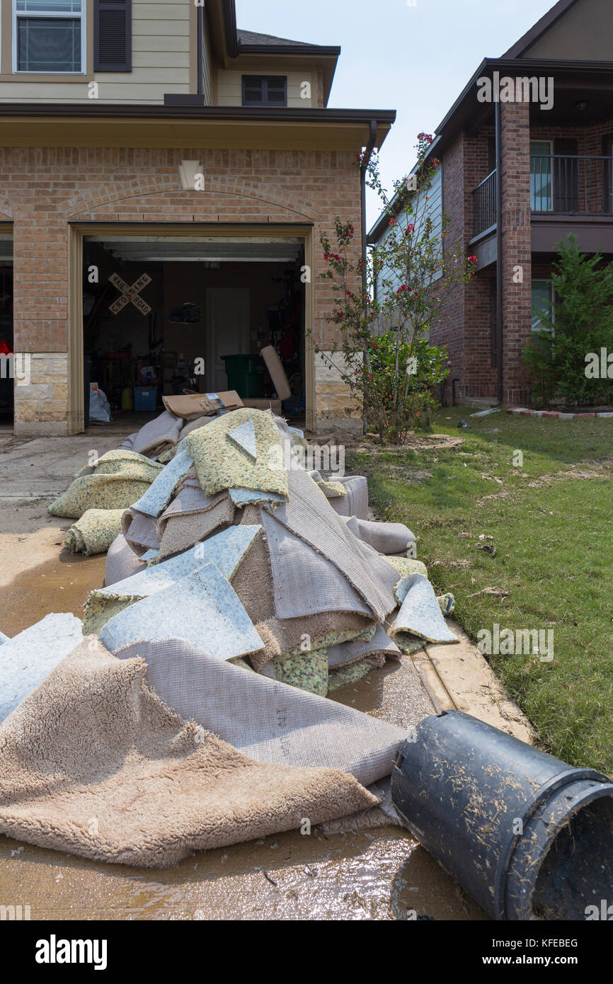 Houses in Houston suburb flooded from Hurricane Harvey 2017 - Stock Image