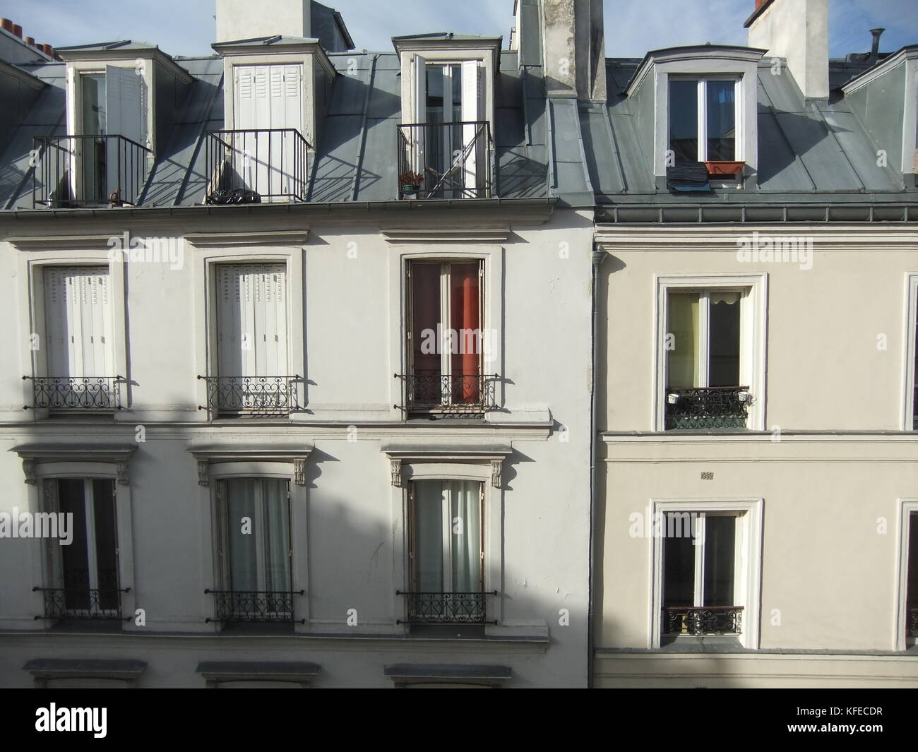 A Typical Set Of French Apartments In Montmartre, Paris, Looking Out Onto  The Street