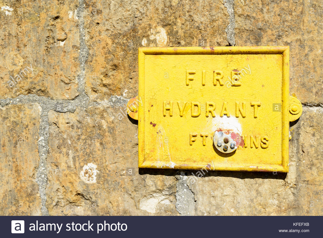 Fire Hydrant wall sign, Sherborne, Dorset, England, UK - Stock Image