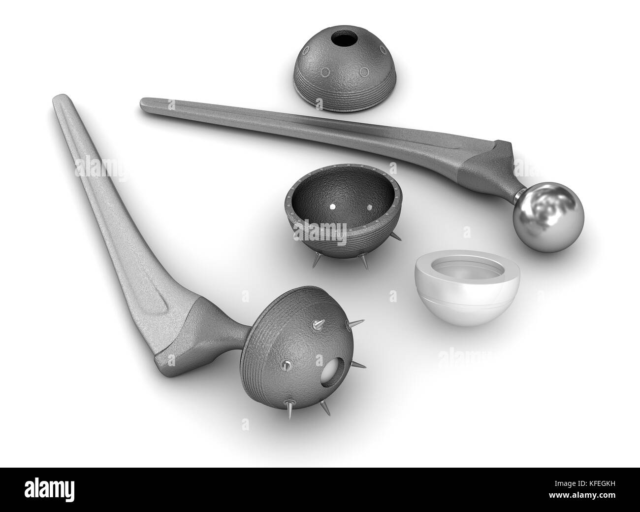 Hip replacement implant isolated on white. Medically accurate 3D illustration - Stock Image