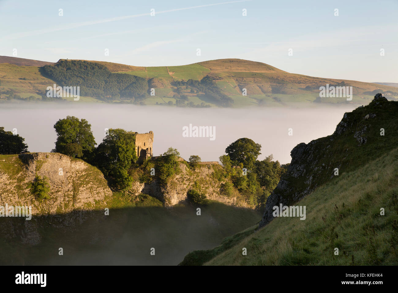 Cave Dale; Misty Morning; View of Lose Hill; Derbyshire; UK - Stock Image