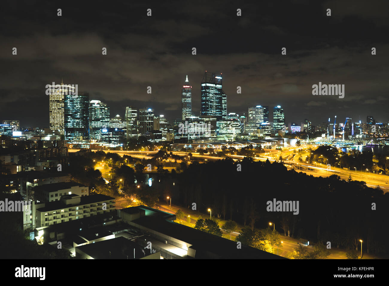 longtime exposure of the city Perth by night from the kings park. - Stock Image