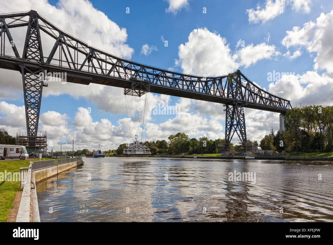 Rendsburg High Bridge with the transporter bridge crossing Kiel Canal - Stock Image