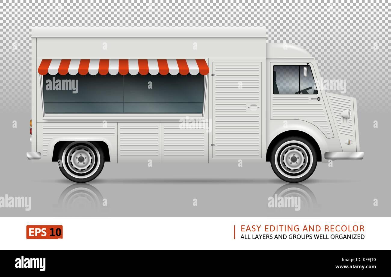 Retro Food Truck Vector Mock Up For Car Branding