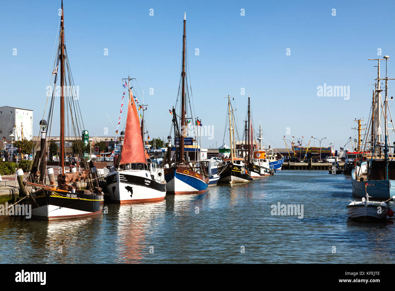 Fishing boats at the port of Büsum, Schleswig-Holstein, Germany - Stock Image