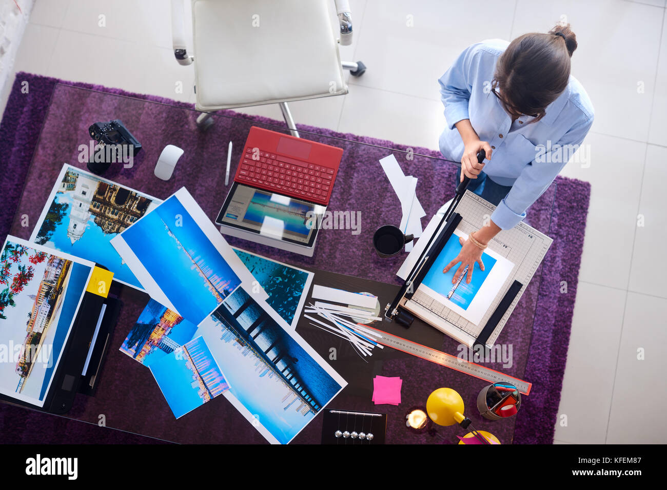 Photographer And Artist Working On Picture In Design Studio - Stock Image