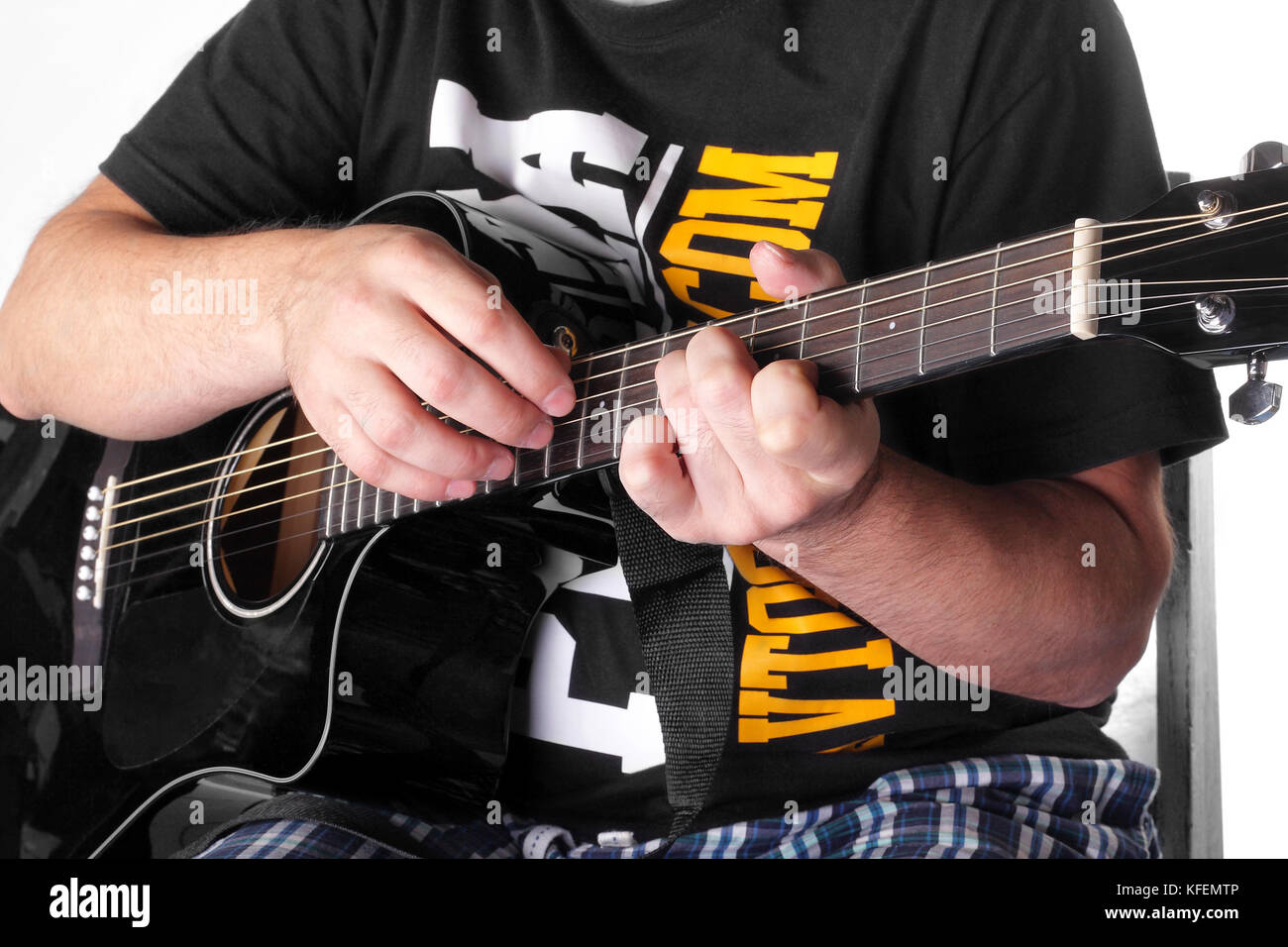 Music Black Electric Acoustic Guitar Player Chord Closeup Stock