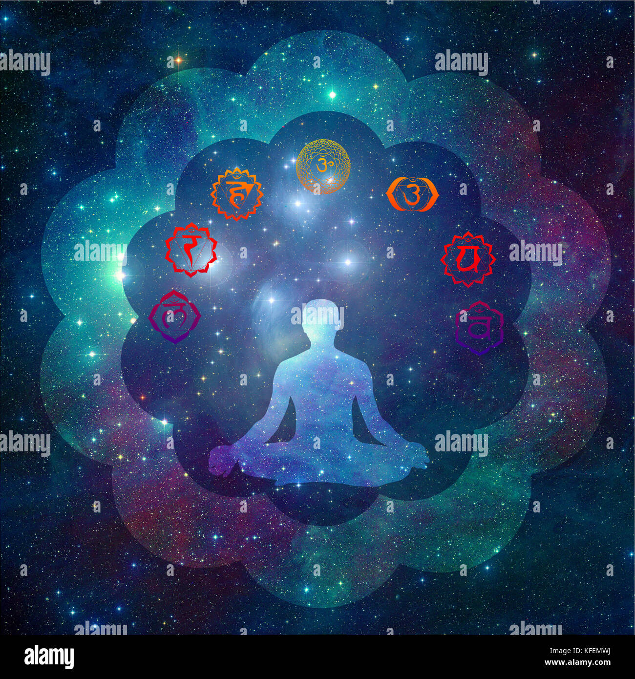 Chakra symbols and silhouette of a man in yoga lotus pose - Stock Image