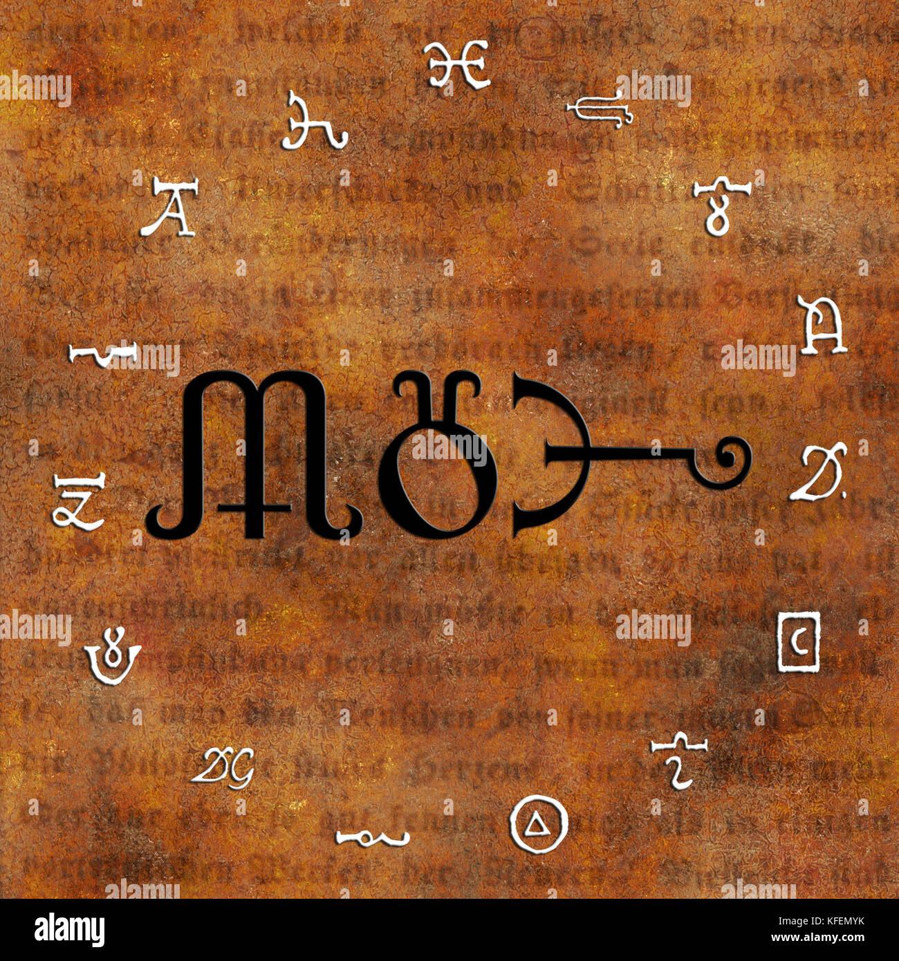 circle with alchemy symbols - Stock Image