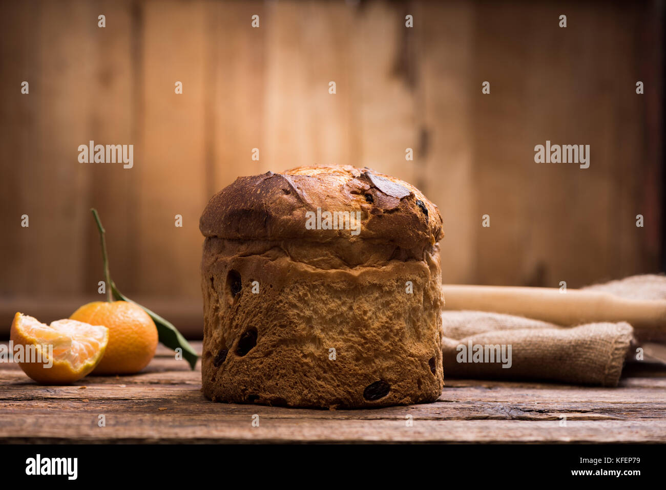 Italian Christmas cake. Home made Panettone Stock Photo