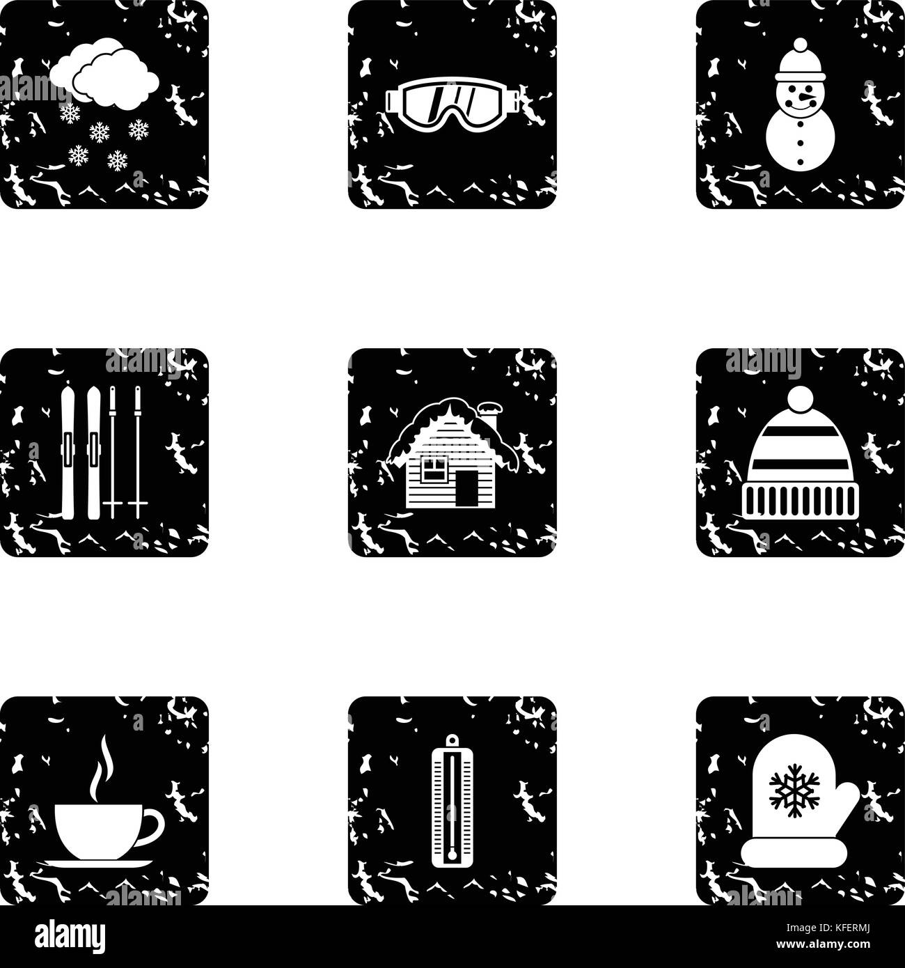 Winter holidays icons set, grunge style Stock Vector