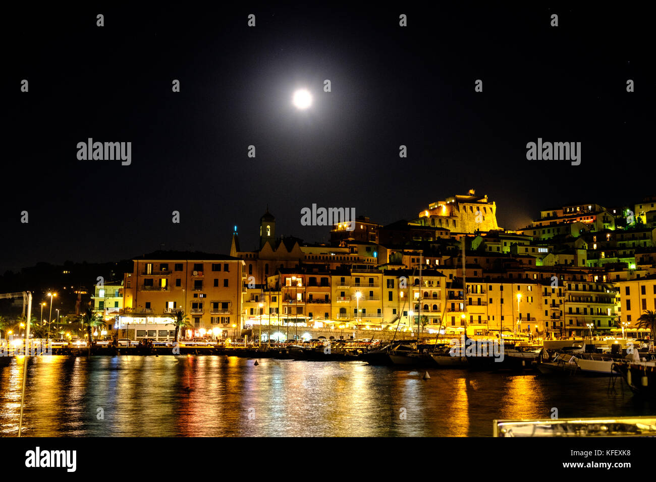 Porto Santo Stefano, Argentario, by night - Stock Image