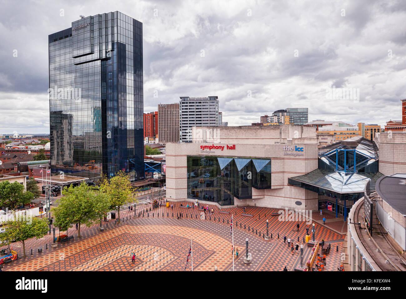The Hyatt Regency and Birmingham Symphony Hall, Broad Street, Birmingham, England - Stock Image