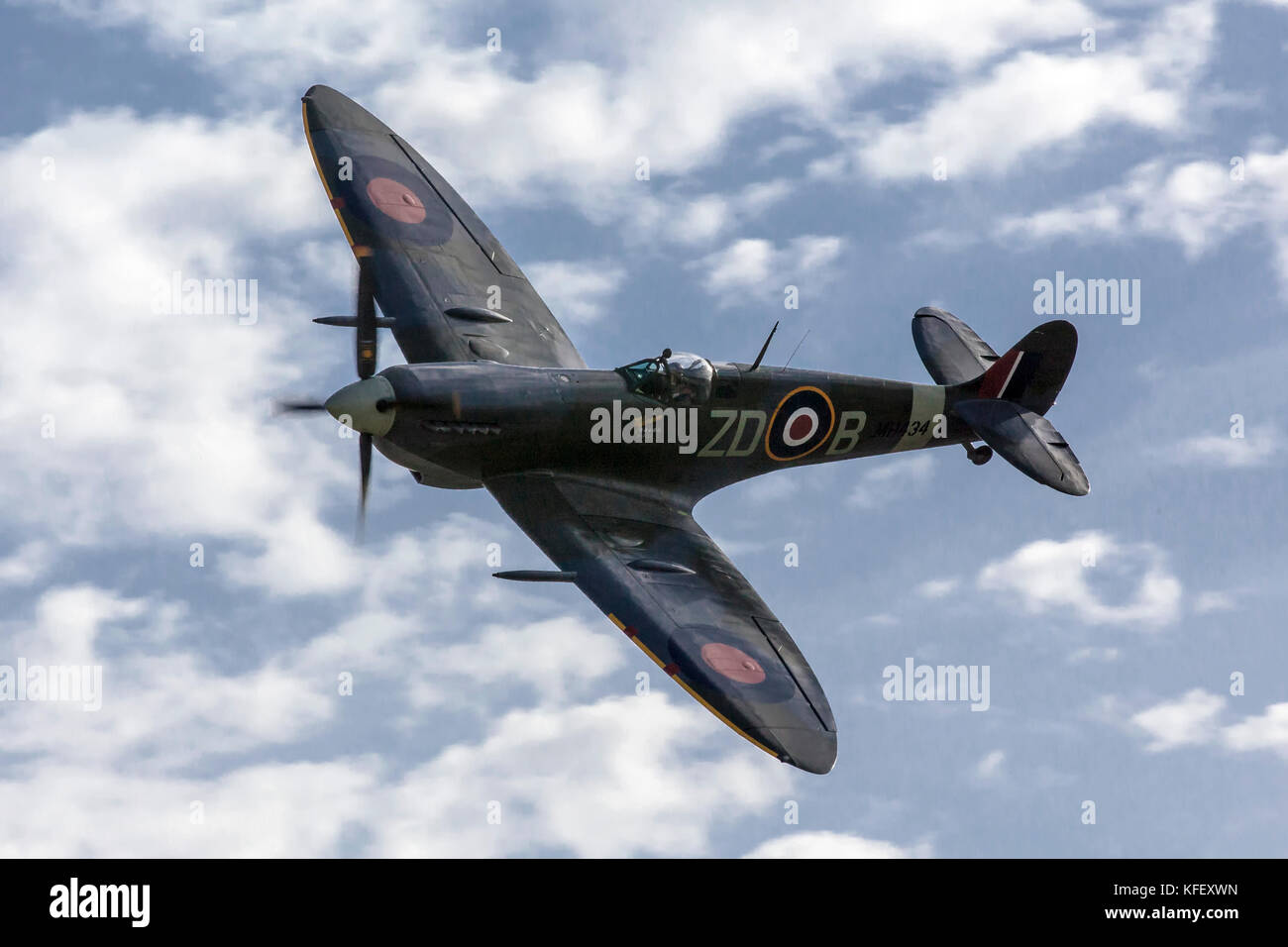 LUQA, MALTA - SEP 29 - Supermarine Spitfire flies by during the 20th edition of the Malta International Airshow Stock Photo