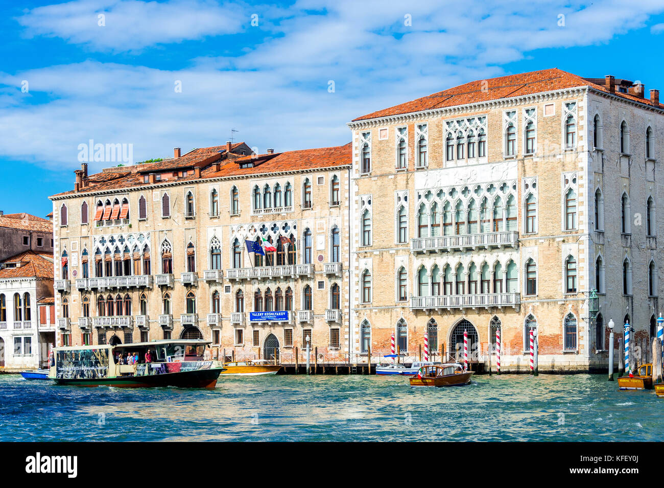 A vaporetto on the Grand Canal in Venice, Italy - Stock Image