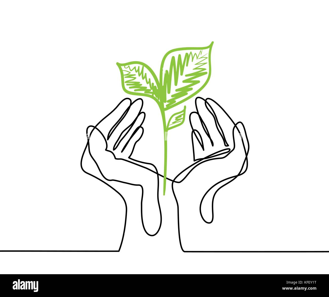 Hands holds a living green plant seedling. Continuous line drawing. Vector illustration - Stock Vector