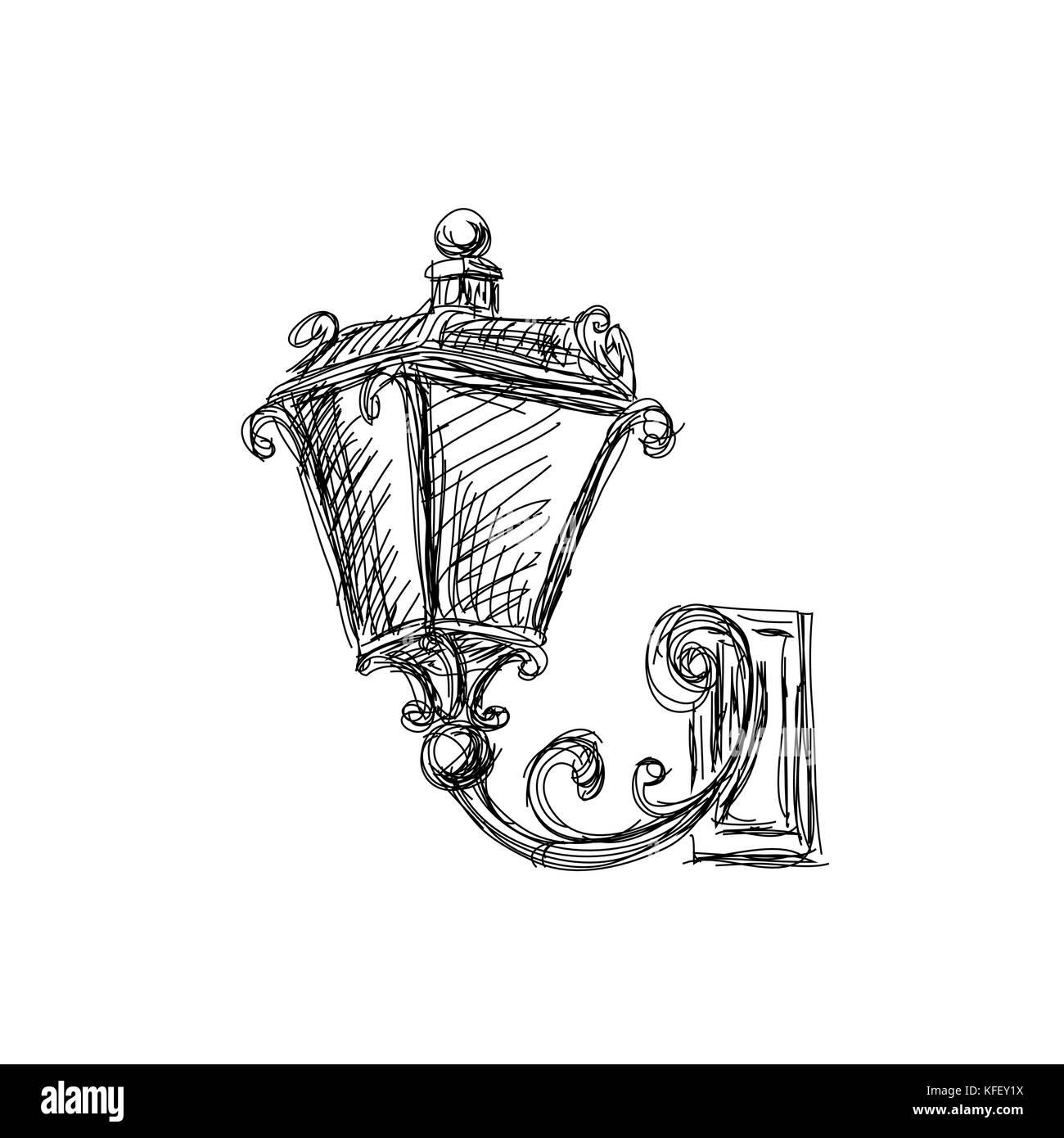 Vintage lanterns lamp, hand drawn vector illustration - Stock Vector