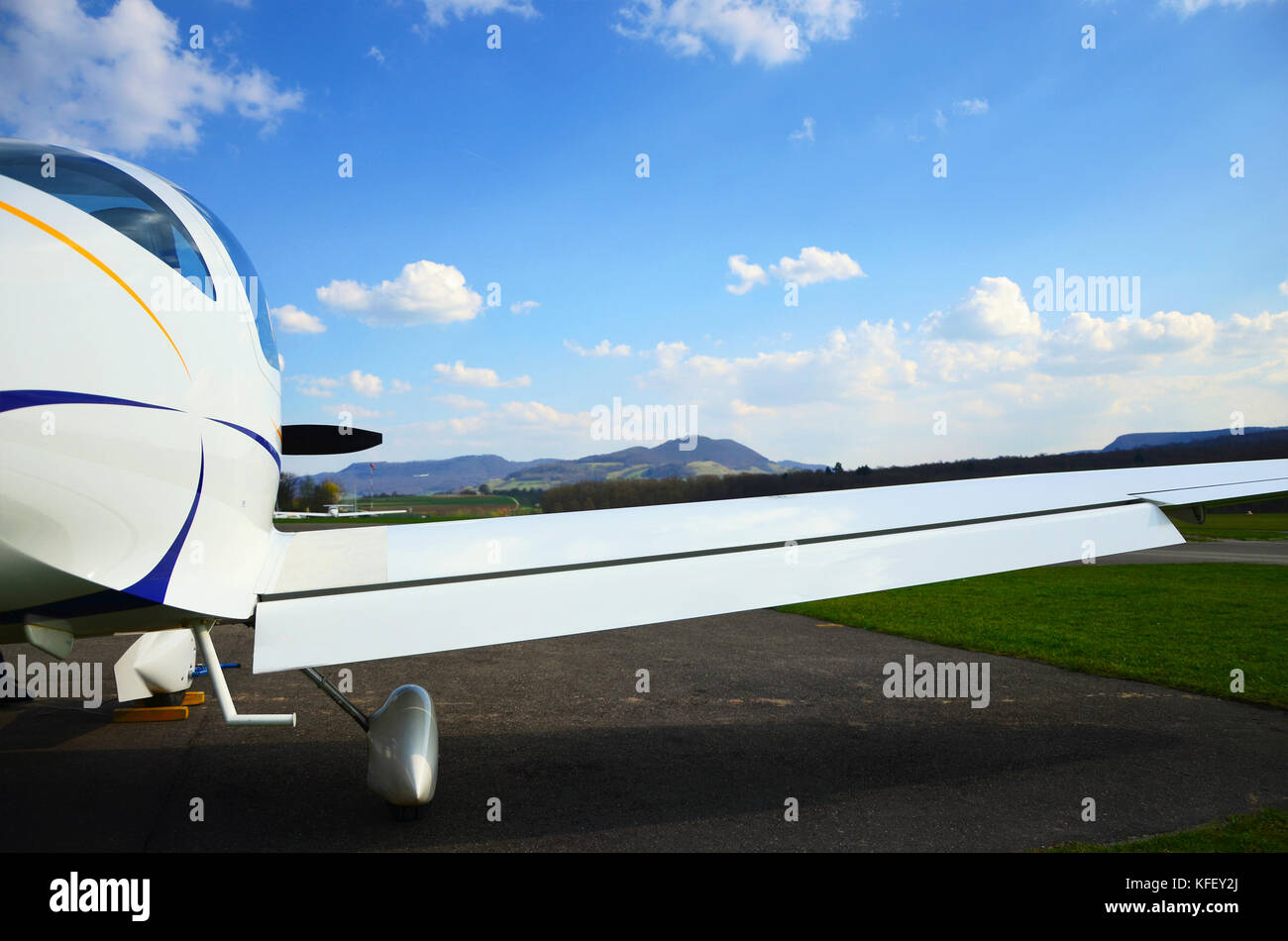 Lightweight plane with transparent cabin, seen in south Germany, March 2017 - Stock Image