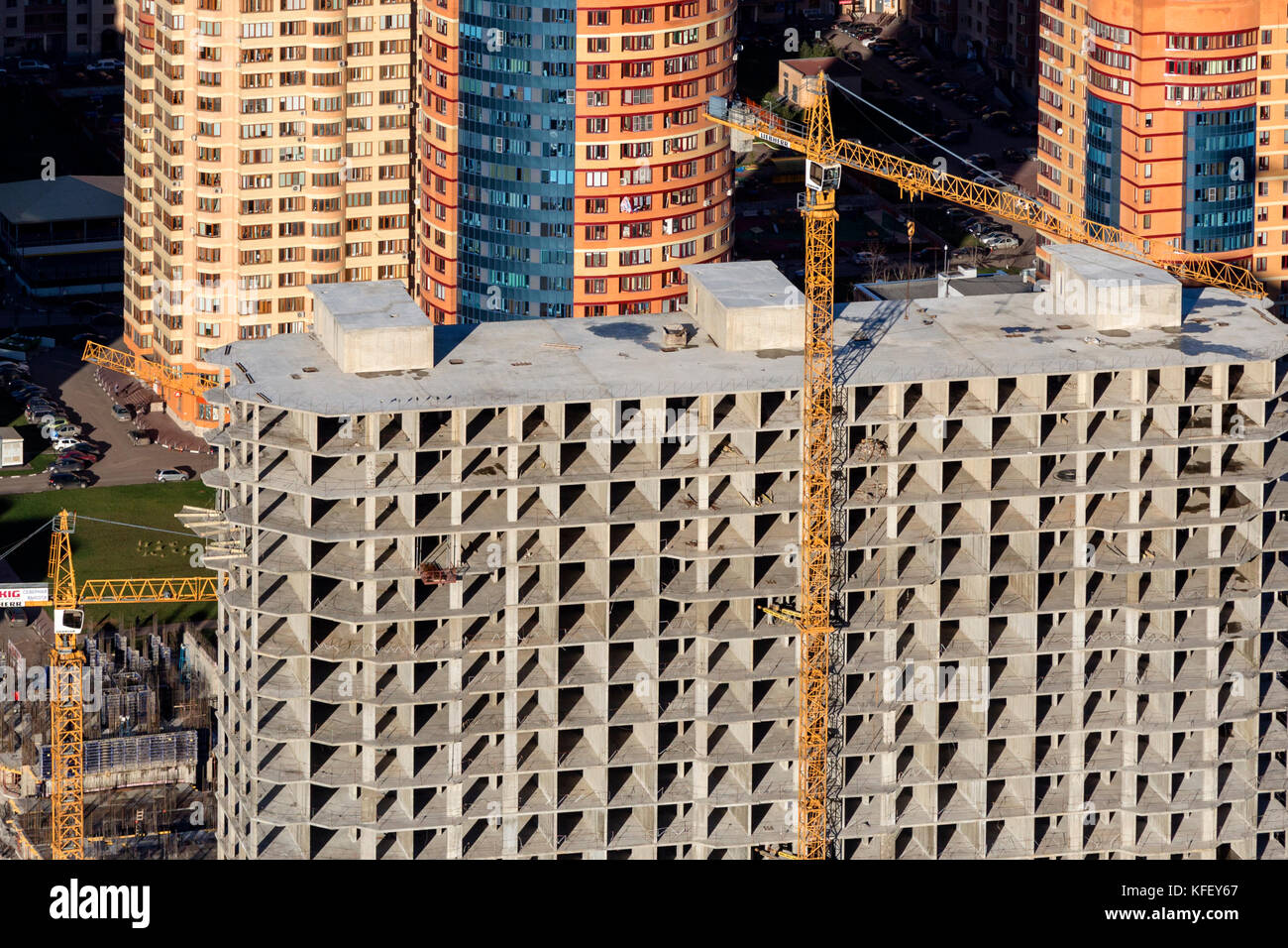 Top view of the construction site of a residential building in a new microdistrict of the Moscow Region, Russia - Stock Image