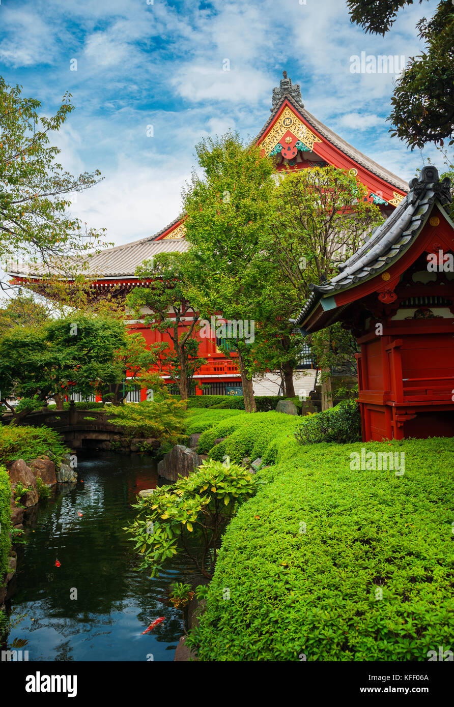 Old temples, shrines and traditional japanese garden in Asakusa district, Tokyo - Stock Image