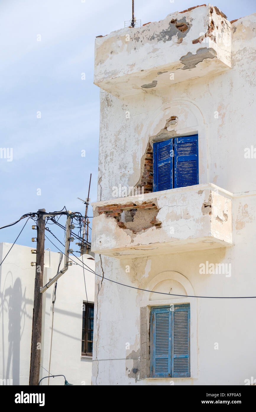 Fragile house facade at the old town, Naxos-town, Naxos island, Cyclades, Aegean, Greece - Stock Image