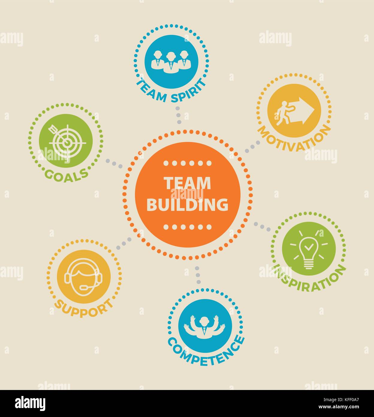 TEAMBUILDING Concept with icons - Stock Image