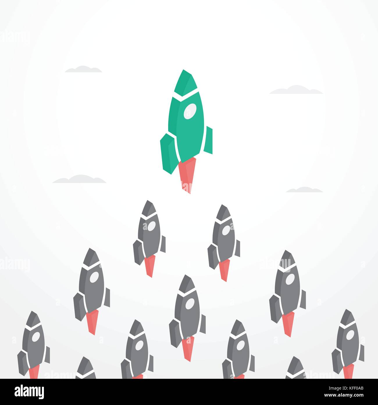 Leadership Concept with rockets in isometric style - Stock Image