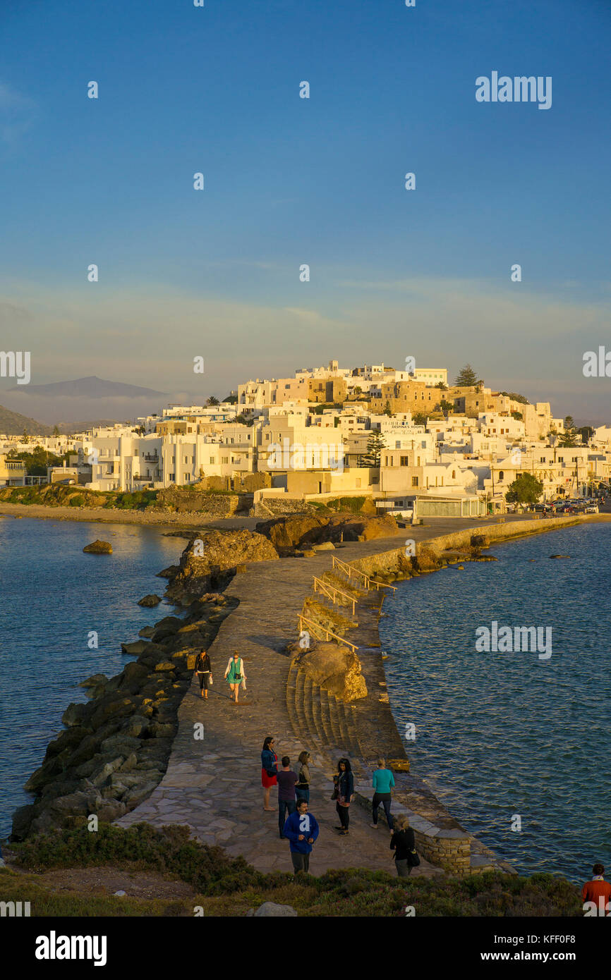 Dam and Naxos-town, soft evening light, Naxos island, Cyclades, Greece - Stock Image
