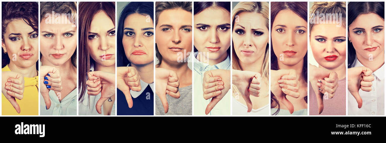 Group of multicultural women making thumbs down gesture for disagreement or disgust - Stock Image