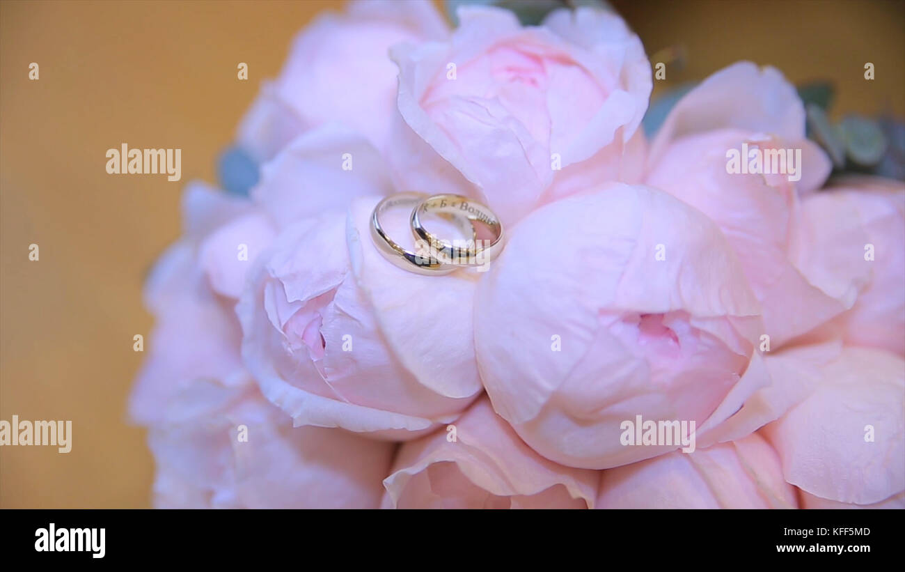 Bridal Bouquet With Wedding Rings And Two Stock Photos & Bridal ...