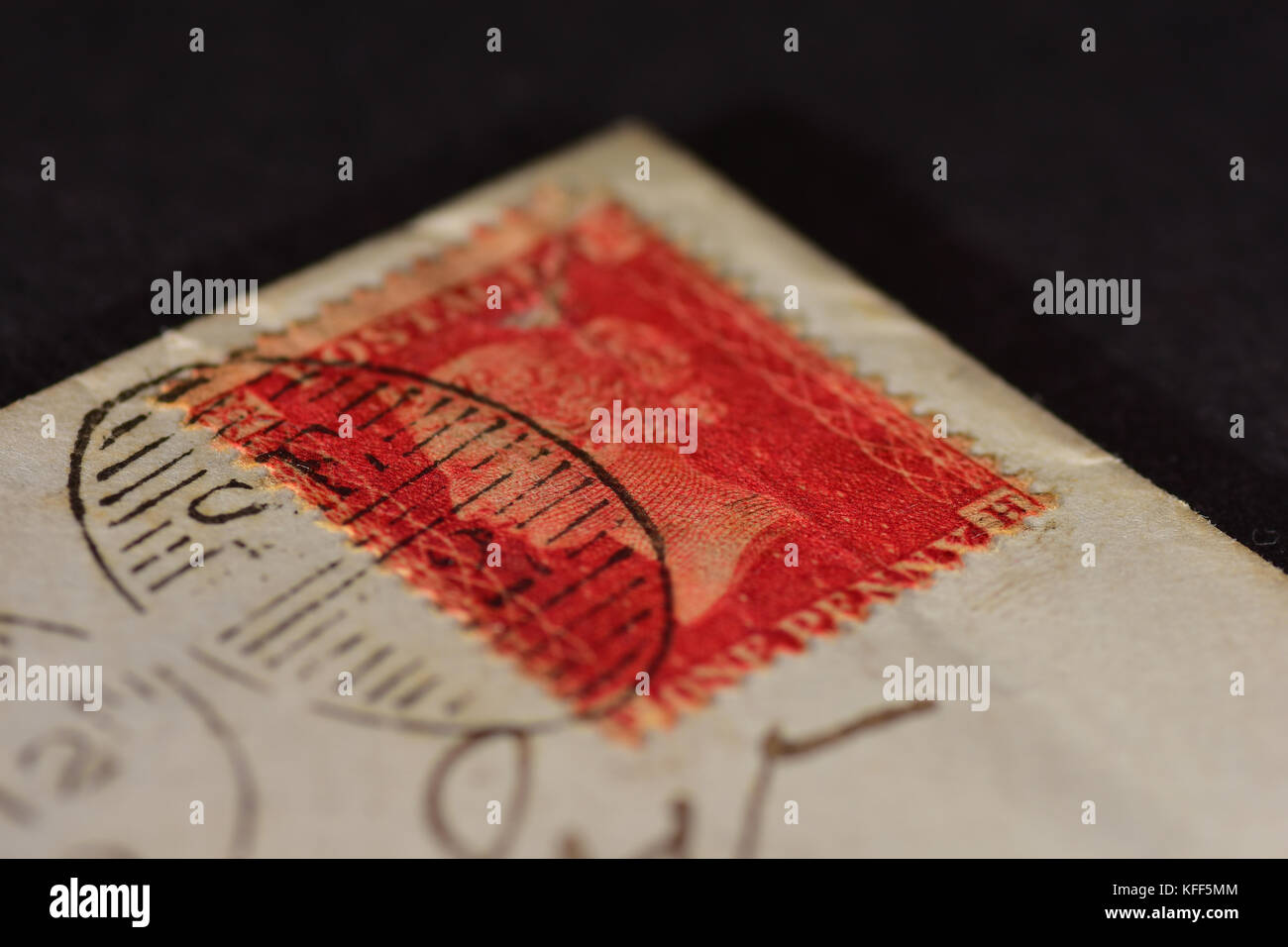 Old British empire stamp - Penny red on an 1860's envelope Stock Photo
