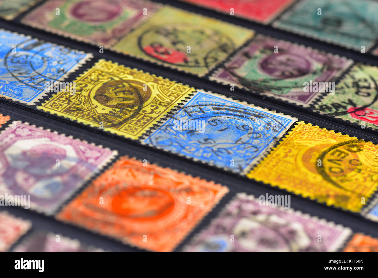 Old British empire stamp collection - George V - Stock Image
