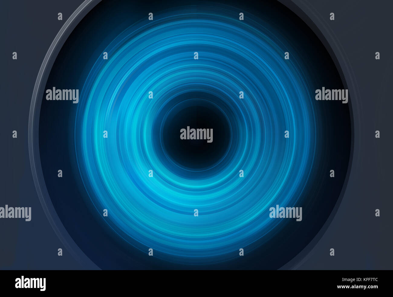 Abstract blue spin circles background with dark circle in center. - Stock Image