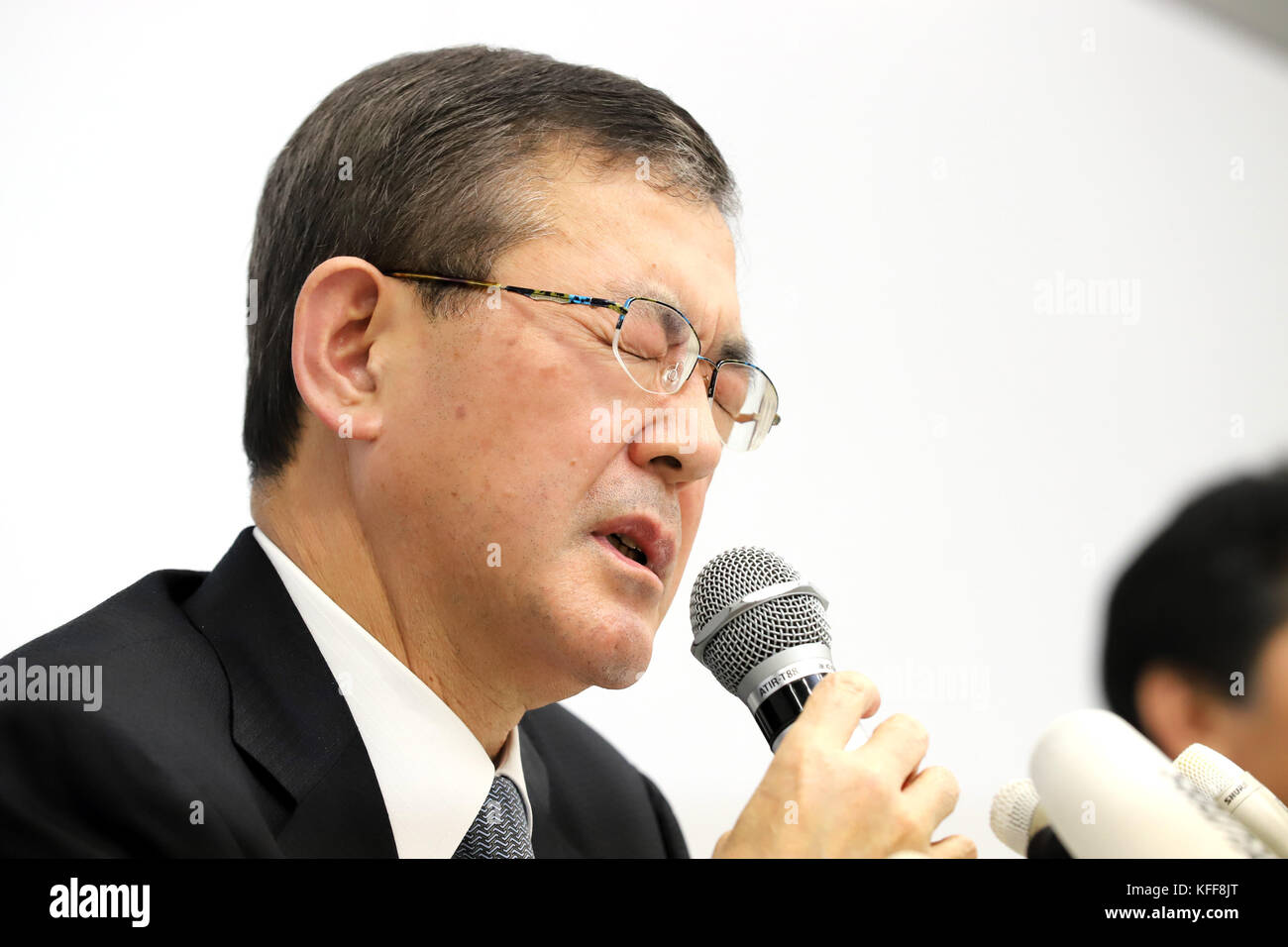 Tokyo, Japan. 27th Oct, 2017. Japanese automaker Subaru president Yasuyuki Yoshinaga speaks before press as the - Stock Image