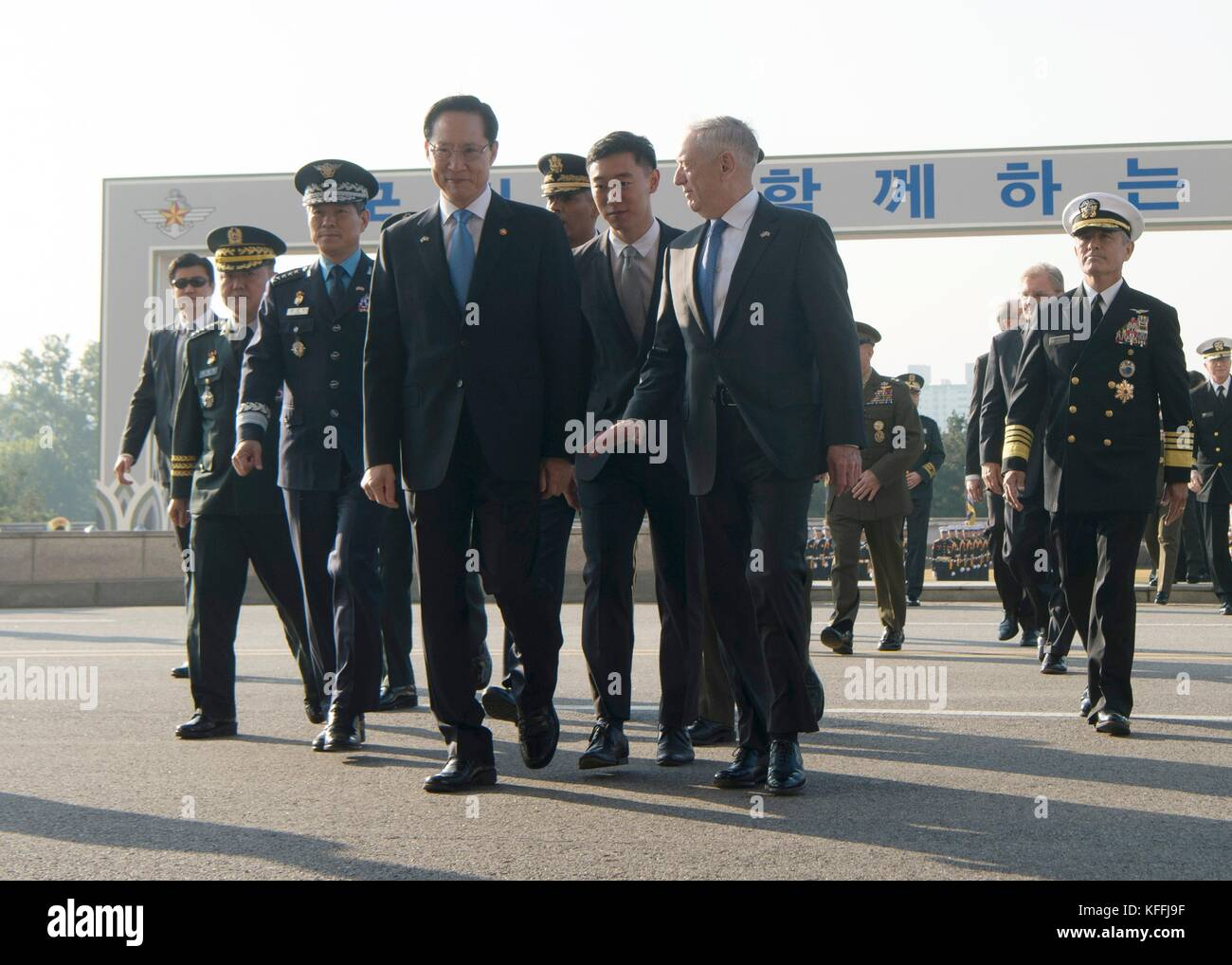 U.S Secretary of Defense James Mattis, right, and Korean Defense Minister Song Young-moo walk together to the 49th Stock Photo