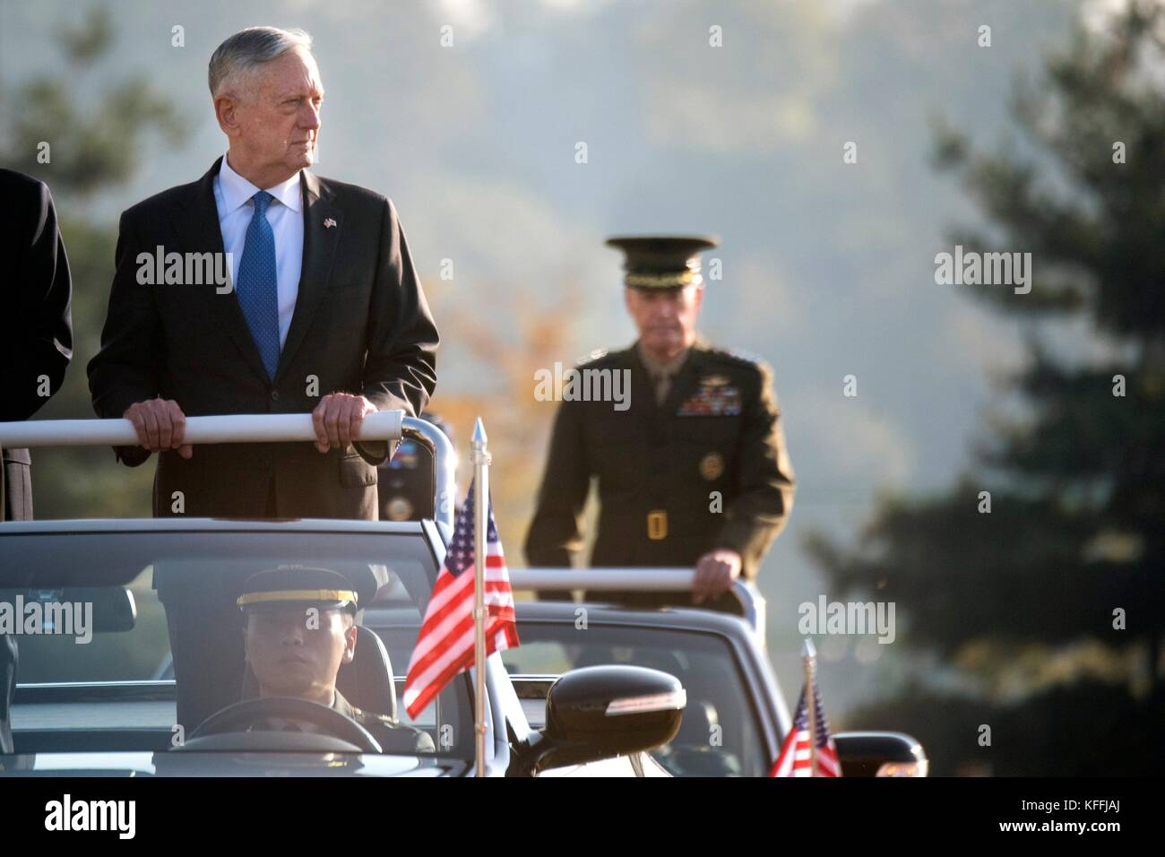 U.S Secretary of Defense James Mattis, left, and U.S. Chairman of the Joint Chiefs Gen. Joseph Dunford during the Stock Photo