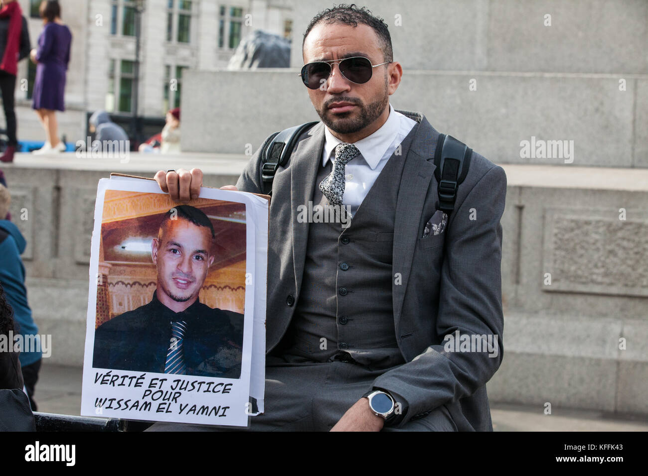 London, UK. 28th October, 2017. A French campaigner attending the United Families and Friends Campaign (UFFC) procession - Stock Image
