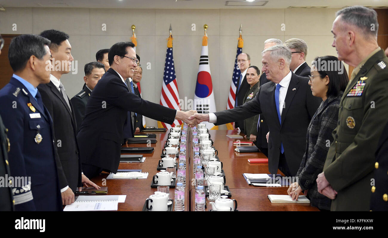 Seoul, South Korea. 29th Oct, 2017. October 28, 2017-Defense Ministry, Seoul, South Korea-In this photo released Stock Photo