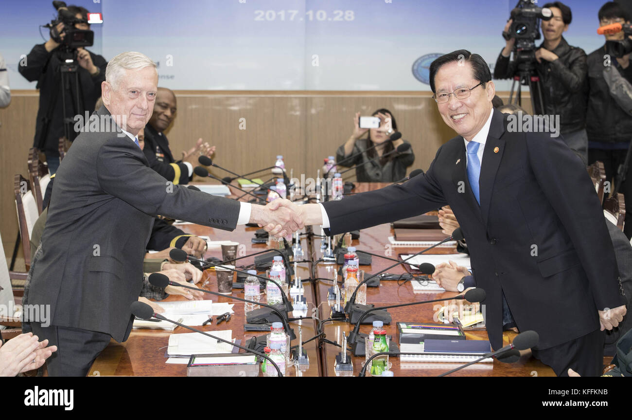 Seoul, South Korea. 28th Oct, 2017. October 28, 2017-Defense Ministry, Seoul, South Korea-In this photo released Stock Photo