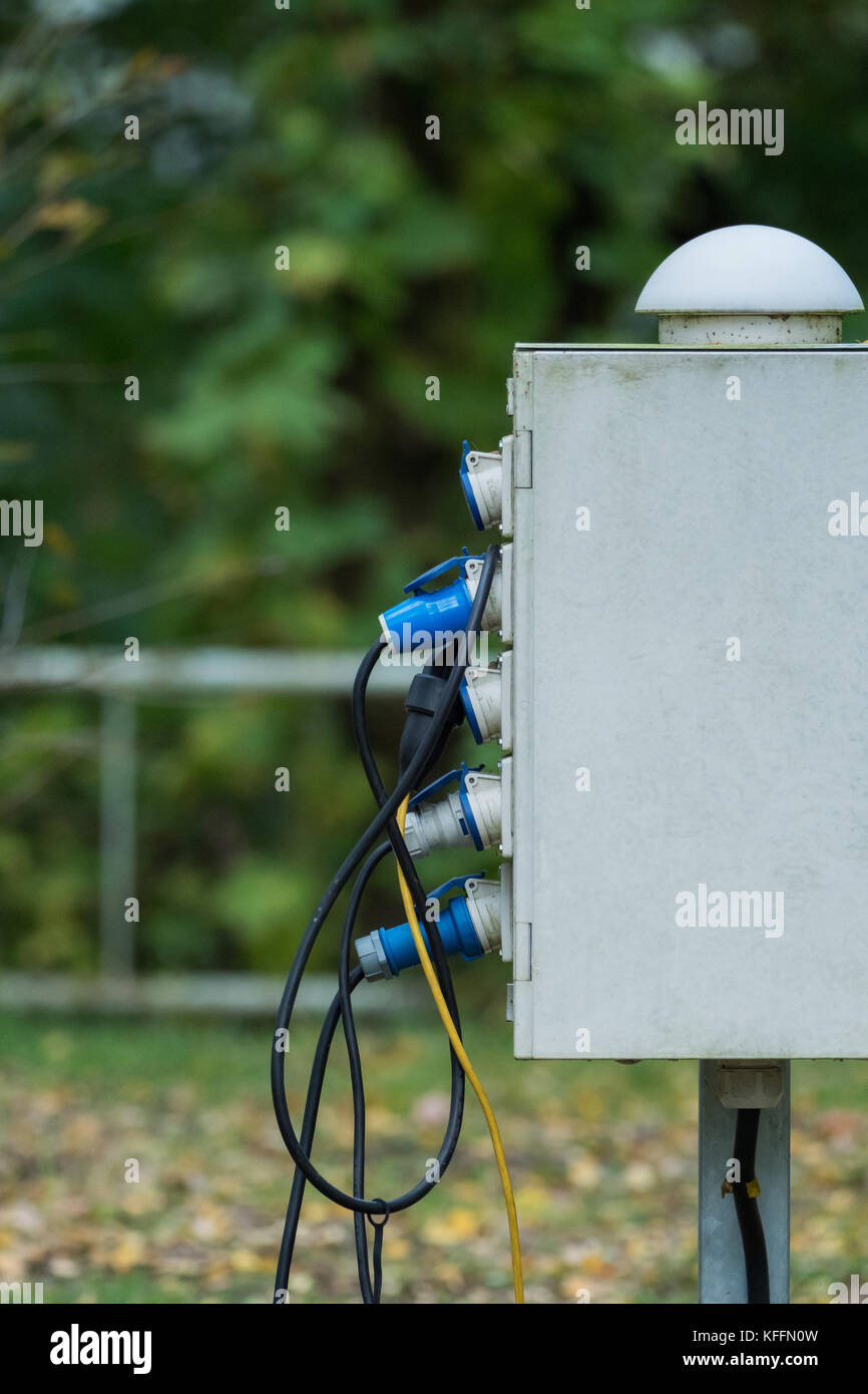 Electricity box at a campsite Stock Photo